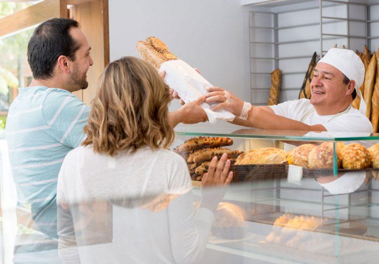Bäckerei Brote Baguette Ehepaar